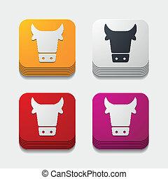 app, 農業, concept:, 牛