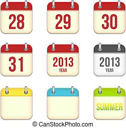 app, 28, 日々, icons., ベクトル, シート, ブランク, カレンダー, 31