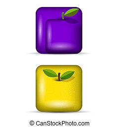app, 3, セット, icons-fruits, ベクトル