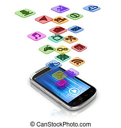 app 3d concept - smart phone application icons