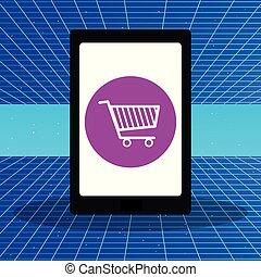 app, achats, tablette, charrette