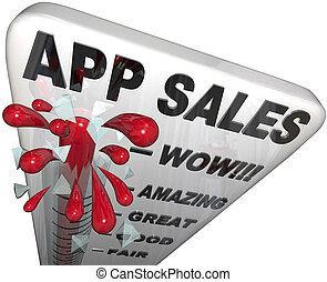 app, apps, verkäufe, steigend, thermometer, einkommen, kaufmannsladen