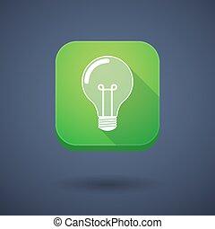 App button with a light bulb
