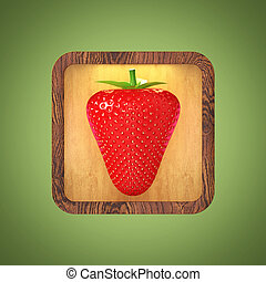 App Button with realistic shiny strawberry on rounded rectangle back. Berry icon isolated render