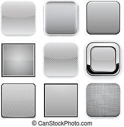 app, carrée, gris, icons.