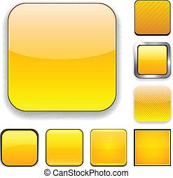 app, carrée, jaune, icons.