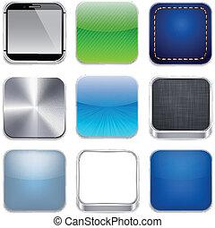 app, carrée, moderne, gabarit, icons.