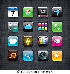 app, carrée, moderne, icons.