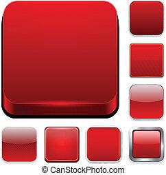 app, carrée, rouges, icons.