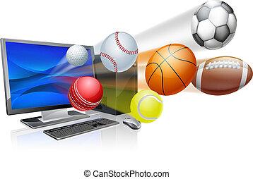 app, conceito, computador, esportes