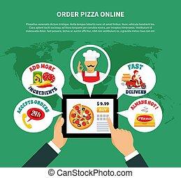 app, concept, pizza, ligne