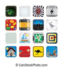 app, conjunto, iconos