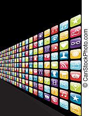 app, conjunto, iphone, plano de fondo, iconos