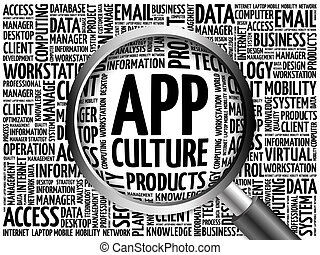App Culture word cloud with magnifying glass