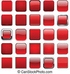 app, derékszögben, piros, icons.