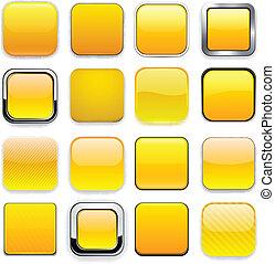 app, derékszögben, sárga, icons.