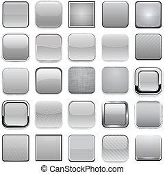 app, derékszögben, szürke, icons.