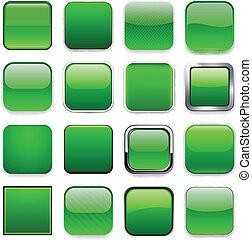 app, derékszögben, zöld, icons.