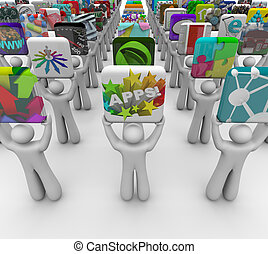 App Developers Present Apps for Sale in Software Store -...