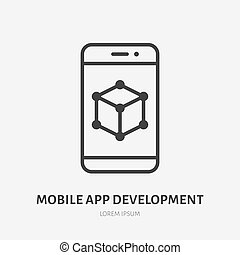 App developing flat line icon. Vector thin sign of mobile phone ui, ux developer logo. Smartphone prototype outline illustration.