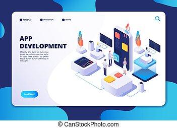 App development concept. Developer designer work on smartphone mobile application. Customized ui design isometric vector infographic