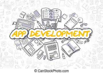 App Development - Doodle Yellow Word. Business Concept.