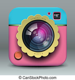 app, disegno, rosa, blu, macchina fotografica foto, icona