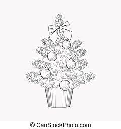 app, element., きれいにしなさい, 背景, モビール, 隔離された, ベクトル, クリスマスツリー, 線, ロゴ, 網, アイコン, design., あなたの, イラスト