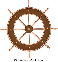 app, ersatzteil, interface., browm, abbildung, element, yacht., boat., design, schiffssteuerrad, freigestellt, lenkung, eber, web, vektor, spiel, white., steuerung, teil, handwheel, hölzern, kapitän