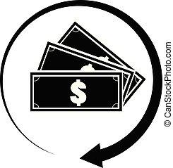 app, espèces, dos, ton, symbole., toile, icône, concept., cashback, plat, logo, logo, ui., style., site, blanc, conception, signe, arrière-plan.
