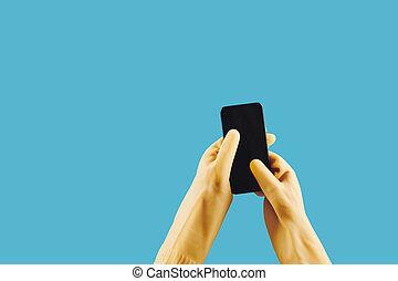 app, femme foyer, mobile, utilisation