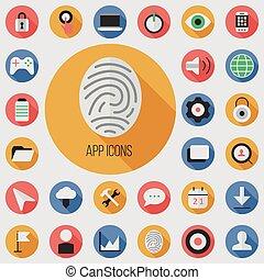 app flat, digital icon set