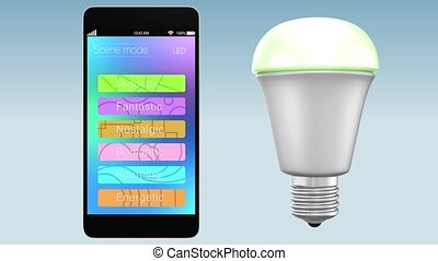 App for LED light control - Smartphone app controlling LED...