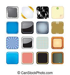 app, fundo, ícones