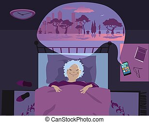 app, gebruik, oude vrouw, slapende