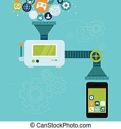 app, handy, entwicklung, vektor