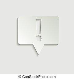 app., icône, bavarder, icon., conception, symbole., symbole, exclamation, point., point, vecteur, site web