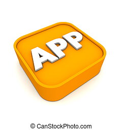 APP Icon RSS-Style - orange APP symbol rendered in 3D...