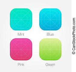 App Icon Template Set with Guidelines. Vector Fresh Colour