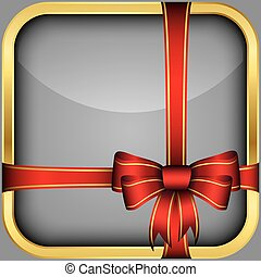 App icon with gift bow, vector illu