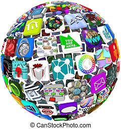 app, iconen, in, een, bol, model