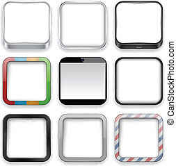 app, icons., blanco