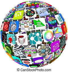 Many smart phone application icons arranged in a spherical shape