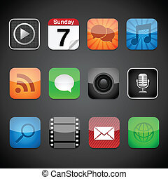 App Icons - Vector app icons on a black background. Eps10 ...