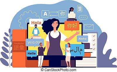 app, international, vecteur, foreign., concept, multilingue, translator., communication, langue, translators, apprentissage, vocabularies, technologie
