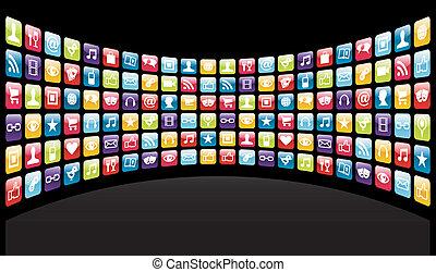 app, iphone, fond, icônes