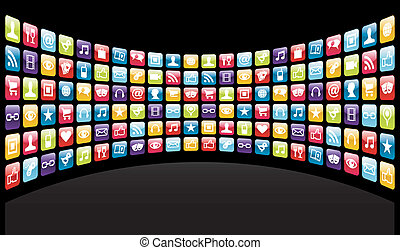 app, iphone, fundo, ícones