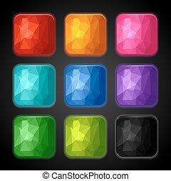 app, jogo, fundos, geomã©´ricas, icons.