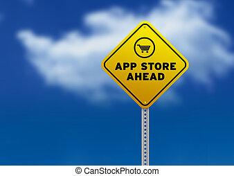 app, kaufmannsladen, voraus, straße zeichen