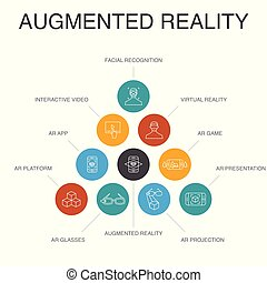 app, lépések, ikonok, realitás, egyszerű, augmented,...
